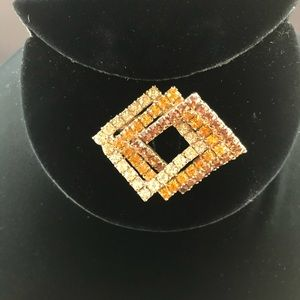 Vintage intersecting squares rhinestone brooch